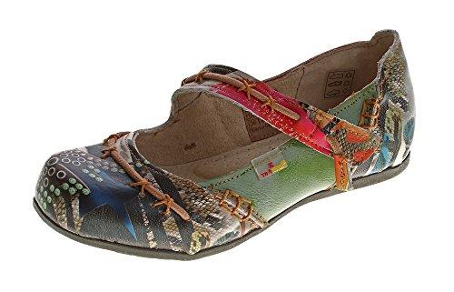 TMA Leder Damen Ballerinas Echtleder Muster variieren Comfort Schuhe 5085 Sandalen Grün Gr. 40