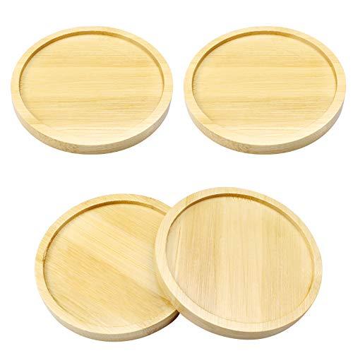 4 Stück Bambus-Pflanzen-Untersetzer, Mini Runde Untersetzer für Kleine Topfpflanzen und Tischdekoration