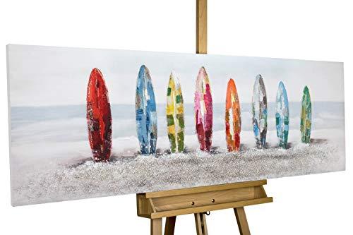 Kunstloft® Cuadro en acrílico 'Siesta Surfista' 150x50cm   Original Pintura XXL Pintado a Mano sobre Lienzo   Mar Agua Olas Gris Multicolor   Cuadro acrílico de Arte Moderno con Marco