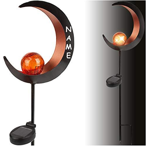 alles-meine.de GmbH 2 Stück _ Solar - LED Licht - Gartenfackel - Flamme / Mond - Kupfer / orange - 93 cm - inkl. Name - Leuchte - Solarblume - Garten Wetterfest für Innen Außen -..