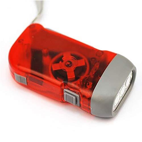 housesweet Mini 3LED Dynamo Taschenlampe Taschenlampe Licht Hand drücken Kurbel für Outdoor Sport Camping, rot, Square 1.50W