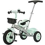Axdwfd Infantiles Bicicletas Triciclo para niños con manija de empuje Pedal para niños Bicicleta 2-5 años de edad Cargar peso 25 kg Carro de bebé Niños Niñas Juguete (Color: menta verde, taro púrpura)