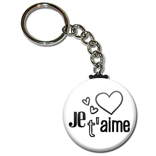 Je t'aime Coeur Porte Clés Chaînette 3,8 centimètres Idée Cadeau Accessoire Saint Valentin Couple Noël Anniversaire