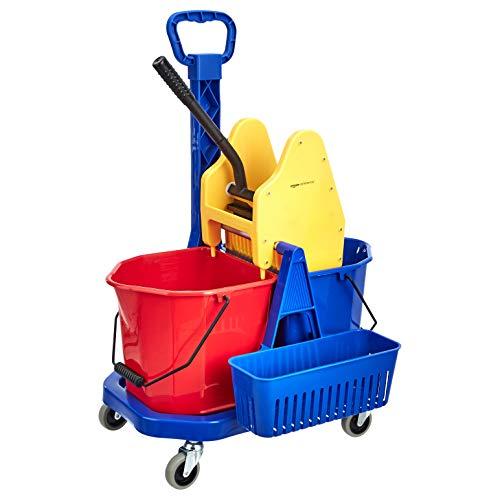 AmazonCommercial - Carrello con due secchi con strizzatore e contenitore per accessori, 17 litri di capacità
