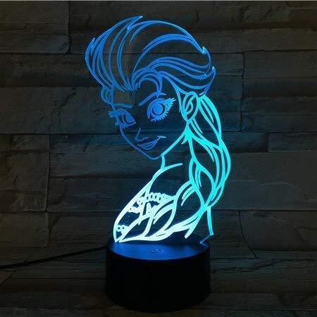 USB 3D Led Nachtlampje Decoratie Meisjes Kinderen Kinderen Baby Geschenken Zuster Anna Tafellamp Nachtlampje Prinses Koningin Elsa Figuur A-1940