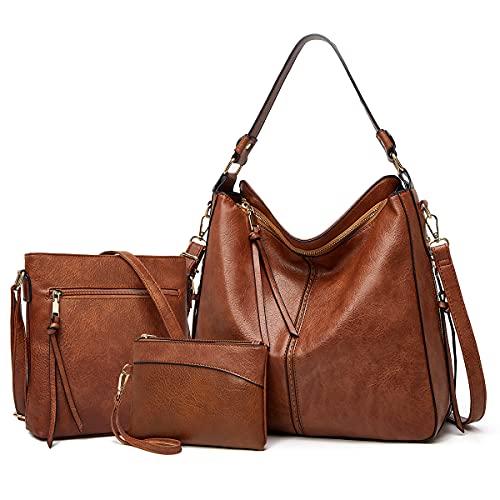 YTL Damen Handtasche Shopper Groß Schultertasche Umhängetasche Geldbörse 3-teiliges Hobo Damen Taschen Set für Büro Schule Einkauf Reise Geschenk BraunC