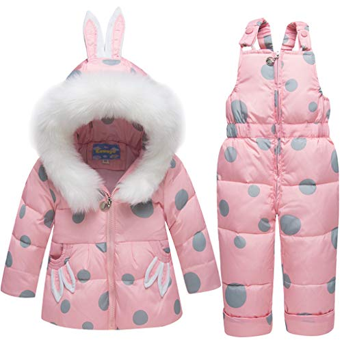 Tuta da Neve per Neonata Bambino Piumino con Cappuccio Cappotto + Pantaloni da Neve per Bambini 2 Pezzi Di Sci Impostato Rosa 3-4 Anni