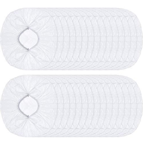 Lot de 100 bonnets de douche jetables en plastique imperméables pour le traitement des cheveux pour le spa, le salon, l'hôtel, la maison, les voyages