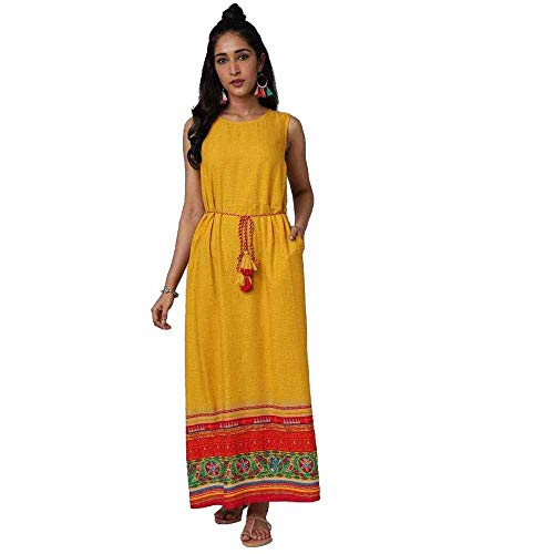 Haute Curry by Shoppers Stop Womens Regular Fit Printed Dress (A20HCSD17F004, Yellow, Large)