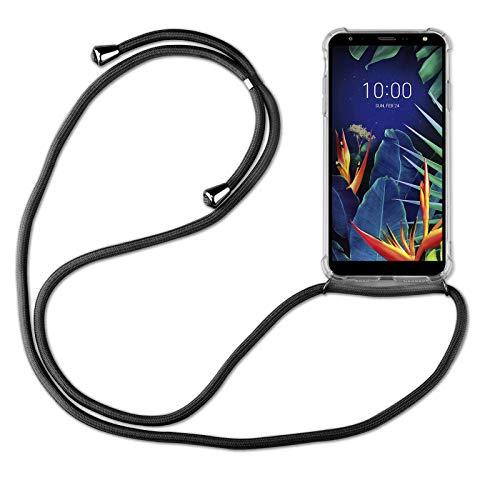 betterfon | LG K40 Handykette Smartphone Halskette Hülle mit Band - Schnur mit Hülle zum umhängen Handyhülle mit Kordel zum Umhängen für LG K40 Schwarz