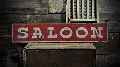 Ced454sy Saloon Schild, Saloon Decor, Old Saloon Sign, Western Saloon Sign, Old West Saloon Signs – Rustikale gedruckte Vintage-Holzdekorationen.
