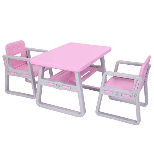Escritorio Y Silla Dos-Juego de Escritorio de los niños, Pupitre de niño de plástico for niños pequeños y niños en Edad Preescolar (Color : Pink)