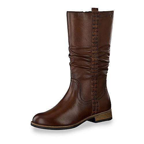 Tamaris 25334-23 klassische Damen Stiefel aus Glattleder mit Reißverschlüssen, Groesse 40, cognac