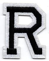 R – Buchstabe; Aufnäher/Patch mit Bügel-Klebe-Fläche zum fixieren