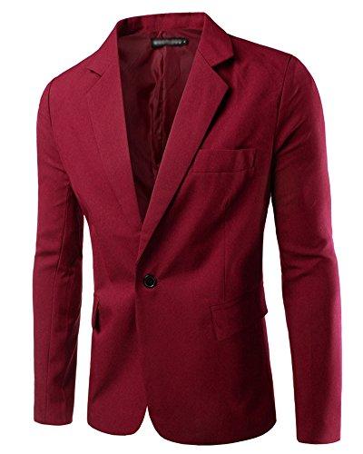 Hombre Chaqueta De Traje para Manga Larga Chaqueta Blazer Slim Fit Casual Abrigos Vino Rojo L