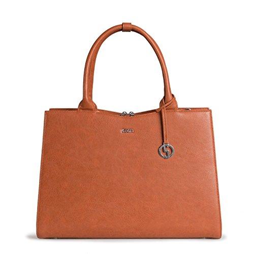 SOCHA SO-Straight-LINE-Cognac Designer Business Tasche StraightLine für Damen, 39,11 cm (15,6 Zoll)