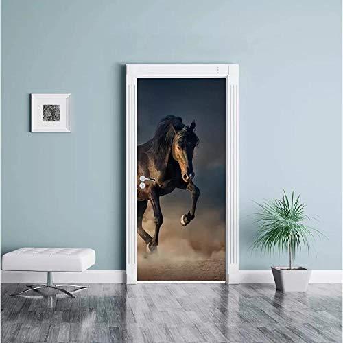 CJZYY 3D Wall Sticker Black Horse Wall Art Fantasy Door Art Canvas Poster Print Gift 90x200cm