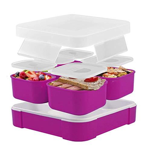 Fun Life Bento Box, Lunch Box mit 5 Fächern, Kinder Brotdose, BPA-frei, auslaufsicherer Behälter Deckel für Schule, Picknick, Ausflug (Lila)