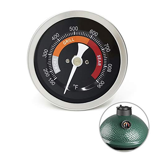 """WEMEIKIT Accurate Thermometer Replacement for Big Green Egg Grills, HD 3.3"""" Large Dial & Waterproof Temperature Gauge for BGE Accessories, Dome Lid Thermostat Made of Stainless Steel for Long Time Use"""