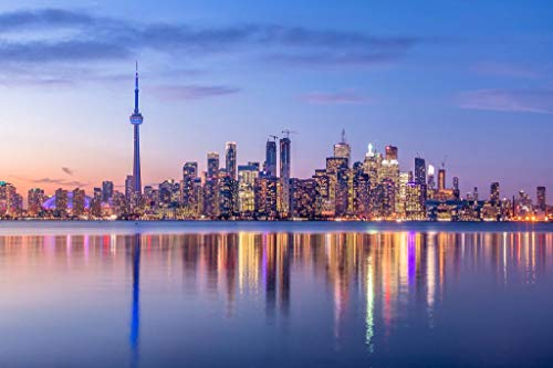 Toronto Ontario Canada Skyline CN Tower Night Reflection Lake Ontario Photo Cool Wall Decor Art Print Poster 36x24