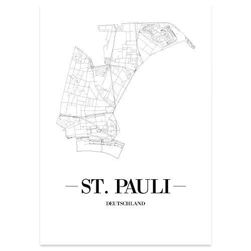 JUNIWORDS Stadtposter, St Pauli, Wähle eine Größe, 40 x 60 cm, Poster, Schrift A, Weiß