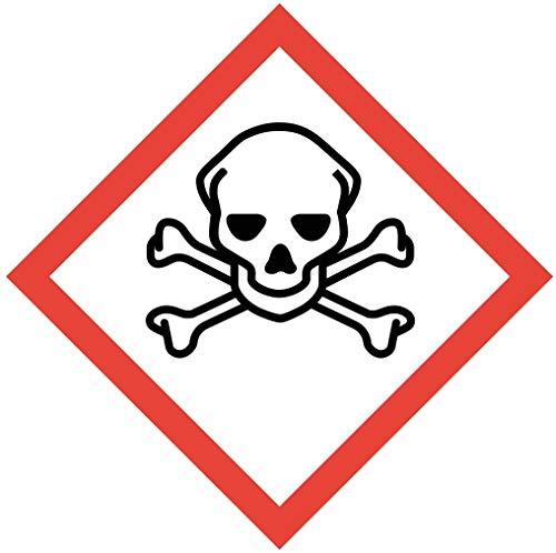 Gefahrstoffaufkleber I GHS06: Sehr giftig I 10 x 10 cm I Gefahrstoffsymbol zur Sicherheit I GHS-Kennzeichnung I Achtung I Warnung I Vorsicht I Hinweis I hin_150