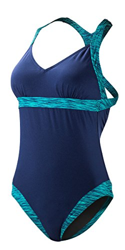 TYR Sport Sonoma V-Ausschnitt Offener Rücken Badeanzug, Damen, Navy-401, Medium