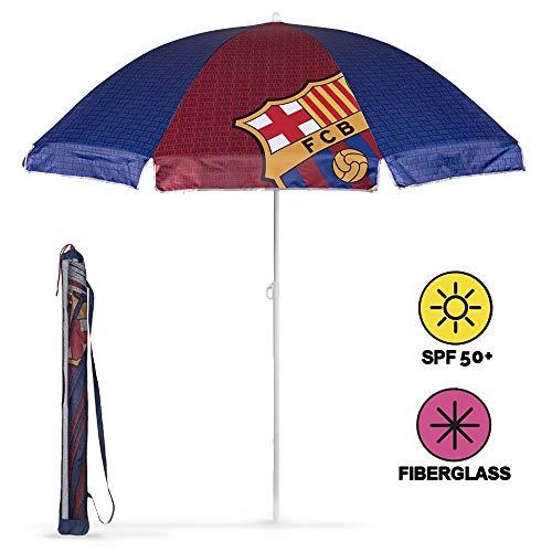 PERLETTI Schirm für Strand/Garten/Meer/Terrasse. Windfest – Mit Motiven aus FC Barcelona - Lichtschutzfaktor UV SPF 50+. Schirm