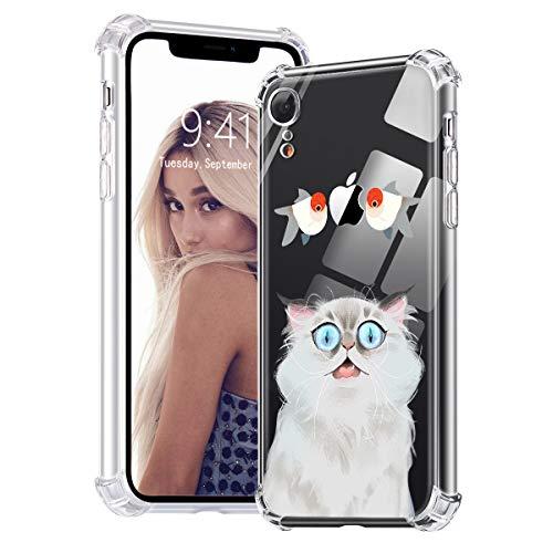 Idocolors Funda para iPhone 6 Plus/6S Plus Goldfish y Gato Caso Antigolpes Ultra Fina TPU Carcasa con Cojín de Esquina antichoques Cover Case Anti-Caída.