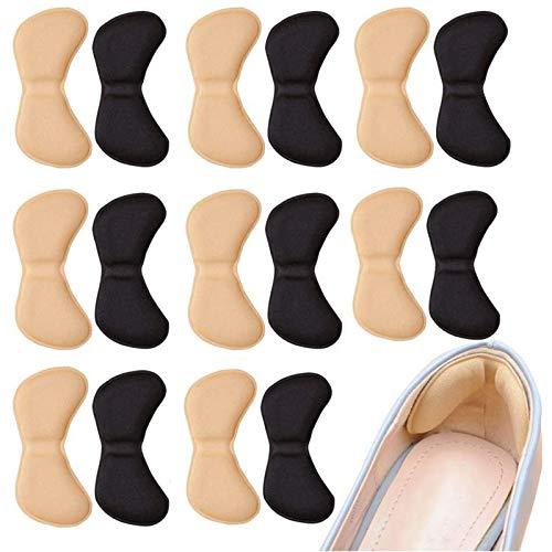 8 Paar Schwamm Fersenpolster, Fußpflege Fersenkissen, Ferse Schuheinlagen, Selbstklebend, Komfort (Schwarz & Fleischfarbig)