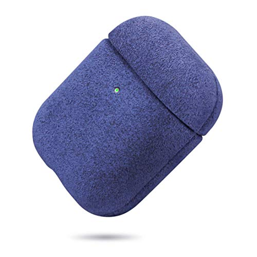 Lopie Cozy Flannelette Fabric/Cloth Case for AirPods Case, Alcantara Material AirPods Cover Protective Skin, Shockproof Shell Dust/Dirt Proof Case for AirPods 1/2 Charging Case, Blue
