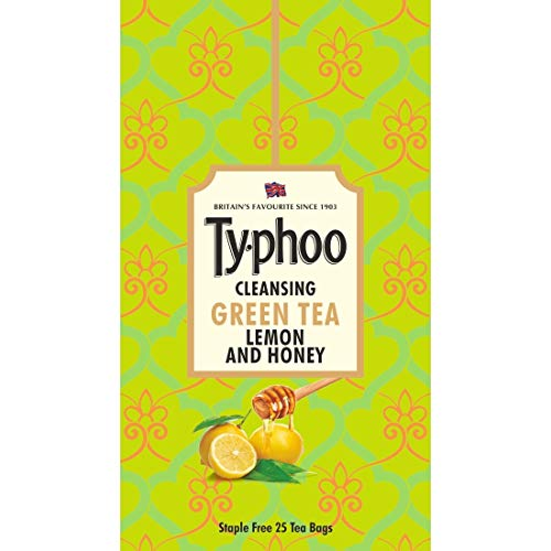 Ty-phoo Natural Green Tea Lemon and Honey with 25 Heat Sealed Enveloped Bags, 25 Bags