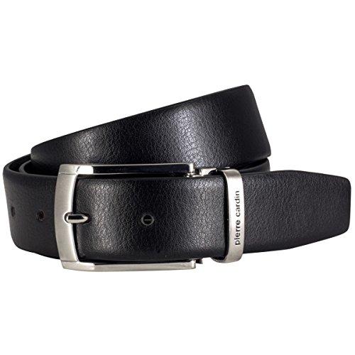 Pierre Cardin ceinture homme de cuir de vachette, 35 mm large et 3,8 mm fort, ajustable, ceinture, ceinture de cuir, ceinture classique, noir, Größe/S