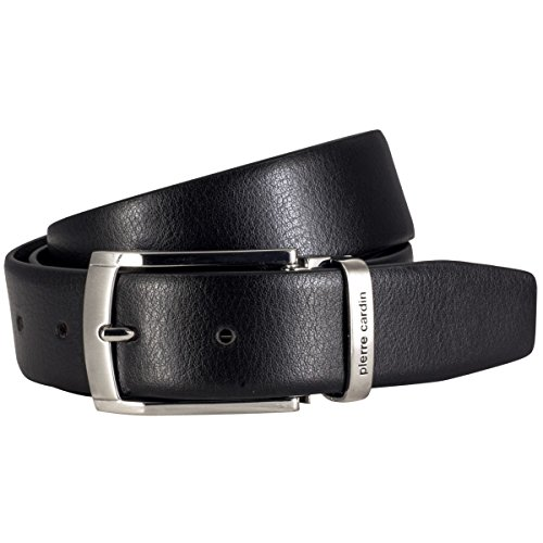 Pierre Cardin Mens leather belt / Mens belt, Letaher belt curved with metal loop, black, Größe / Size:120;Farbe / Color:nero