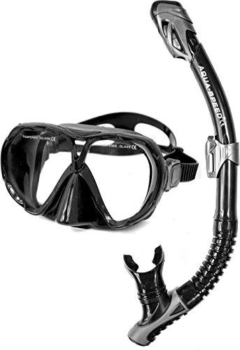 Aqua-Speed Taucherset Tauchermaske und Schnorchel Vanua + Borneo 07B, schwarz