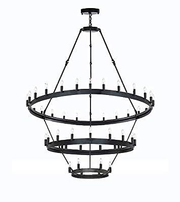 Wrought Iron Vintage Barn Metal Castile Chandelier Chandeliers Industrial Loft Rustic Lighting