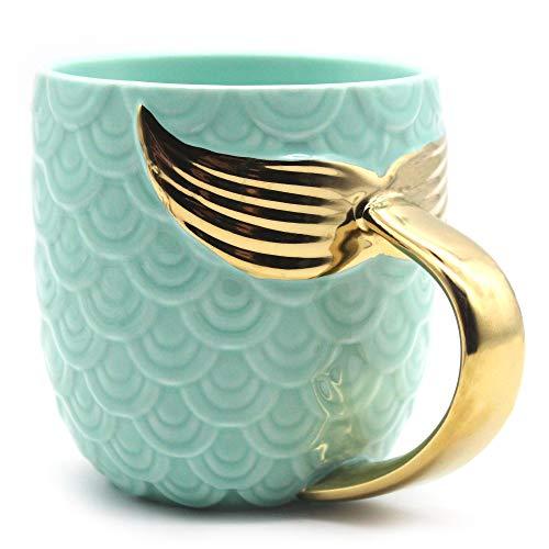 XIOMOO Mermaid Mug with Gold Tail Handle 13 oz Ceramic Coffee Cup Cute Teacup Birthday Christmas Wedding Valentine's Day Bridal Gifts for Women Men Girls Boys (Green)