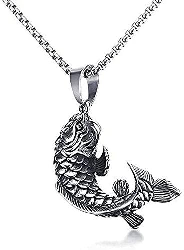 Yiffshunl Collar Collar de Moda para Hombre Collar de Anzuelo de Oro con pez Koi Colgante 3D en Acero Inoxidable Collares de joyería de océano mítico