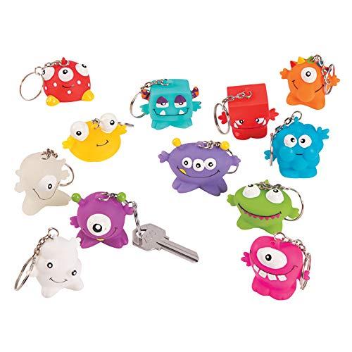 cama24com Lustige Monster Schlüsselanhänger 12 Stück 6 Verschiedene Motive Mitgebsel mit Palandi® Sticker