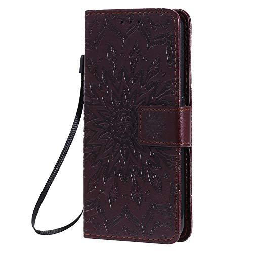 KKEIKO Hülle für Galaxy J4 Core, PU Leder Brieftasche Schutzhülle Klapphülle, Sun Blumen Design Stoßfest HandyHülle für Samsung Galaxy J4 Core - Braun