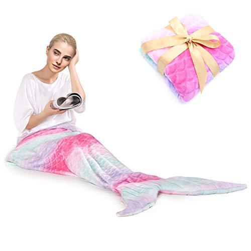 "Mermaid Tail Blanket for Kids AdultPlush Soft Flannel Fleece All Seasons Sleeping Blanket, Best Gifts for Girls,Women,30""×62"""