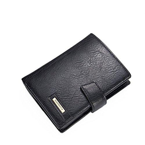 Abaría - Billetero grande para hombre, cartera marrón con bolsillo para monedas,...