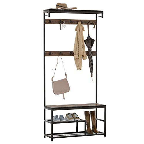 SEIRIONE Coat Rack, Shoe Bench, Hall Tree with Storage Shelf for Entryway, 10 Double Hooks, Wood Look Accent Furniture with Metal Frame, Grain Brown/Black