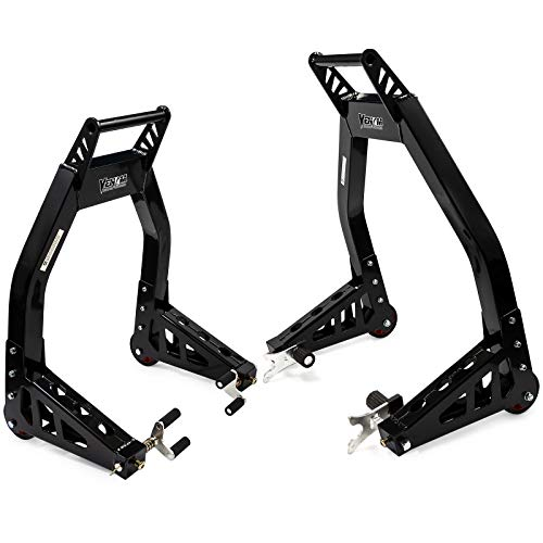 Venom Sport Bike Motorcycle Front & Rear Combo Lift Stands Black Universal Front Wheel Fork & Rear Swingarm Spool Lift Stands Fits Most Yamaha Honda Kawasaki Suzuki Ducati BMW