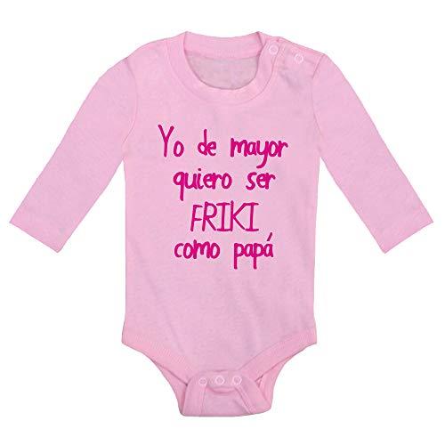ClickInk Body bebé Quiero ser friki como papá. Regalo bebé. Regalos para bebés. Día del padre. Regalo divertido. Regalo papá. Bebé friki. Body bebé algodón. Manga larga.