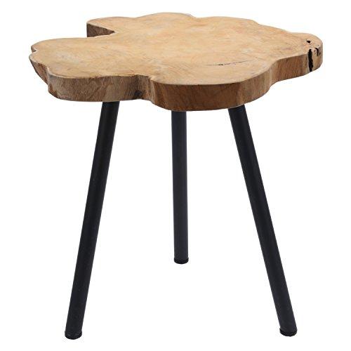 LS-Design Beistelltisch Couchtisch Teakholz 44cm Hocker Braun Schwarz Massivholz