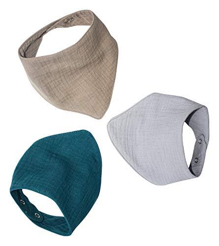 Jonakid 3 Musselinhalstücher aus 100% Baumwolle Dreieckstuch Spucktuch Sabberlätzchen Halstuch 0-18 Monate (Petrol)