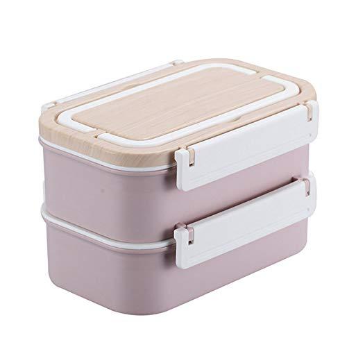 Lonchera caja de bento de madera de doble capa 1600ML, Contenedor de almacenamiento de alimentos con 2 niveles de acero inoxidable Bandeja interna para congelador de microondas Lavavajillas