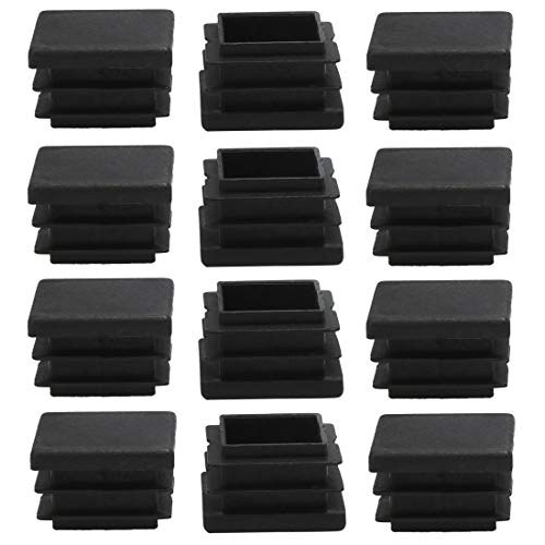 sourcingmap 12pcs Plastic Square 20 x 20mm Ribbed Tube Inserts Pipe Tubing End Covers Caps Furniture Glide Chair Table Feet Floor Protector