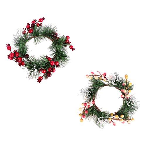 TomaiBaby 2 Unids 20 Cm Anillos de Vela de Navidad Coronas de Velas Corona de Pino con Bayas Anillos de Portavelas Votivas Decoración de Centro de Mesa de Arrecife de Navidad